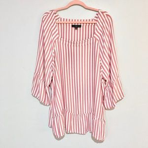 Fred David | Pink and White Striped Peplum Hem Top